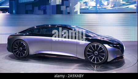 FRANKFURT, GERMANY - SEP 19, 2019: Mercedes Benz Vision EQS luxury electric concept car reveiled at the Frankfurt IAA Motor Show 2019.mixed media - Stock Photo