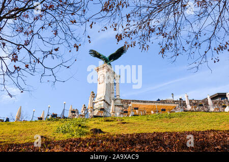 Budapest, Hungary - Nov 6, 2019: Statue of the Turul bird on the Royal Castle. Mythological bird of prey mostly depicted as a hawk or falcon in Hungarian traditions. The national symbol of Hungarians. - Stock Photo