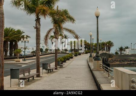 Lanzarote, Canary islands, Spain-September 1, 2018.  Paseo Maritimo or Promenad  in center of Arrecife in Lanzarote Islands - Stock Photo