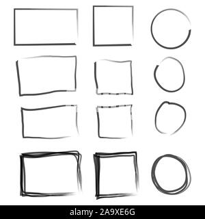 Frames in doodle style. Set of Square, rectangle, circle, oval handdrawn borders. - Stock Photo