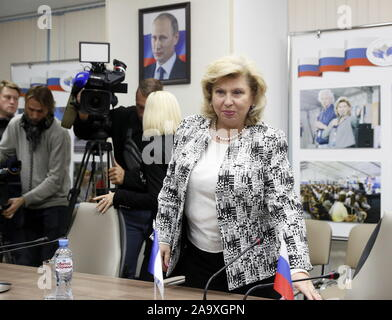 MOSCOW, RUSSIA - NOVEMBER 18, 2019: Russia's Human Rights Commissioner Tatyana Moskalkova during a meeting with Maria Butina. Butina went to the United States on a student visa in 2016, and was arrested by the FBI in Washington DC, USA, over suspected activity as an agent of Russia in July 2018. Butina made a plea deal with the prosecution admitting to conspiracy to act as an unregistered foreign agent and was sentenced to 18 months in prison in April 2019. She was released from jail on 25 October 2019 and deported to Russia. Sergei Savostyanov/TASS - Stock Photo