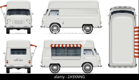 Retro food truck vector mockup on white for vehicle branding, advertising, corporate identity. View from side, front, back, top. All elements in group - Stock Photo
