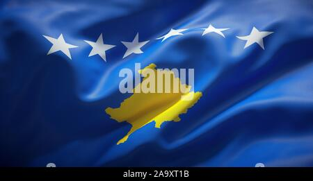 Official flag of the Republic of Kosovo. - Stock Photo