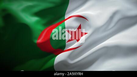 Real cloth flag of Algeria. - Stock Photo