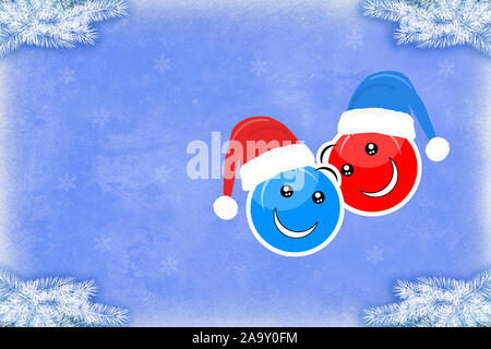 Two smiling faces in Christmas hats on a blue background in a festive illustration - Stock Photo
