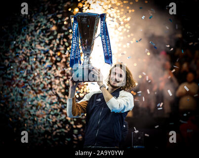 London, UK. 17th Nov, 2019. Stefanos TSITSIPAS (Greece) celebrates winning the FINAL during the Nitto ATP World Tour Finals London Day 8 (FINALS) at the O2, London, England on 17 November 2019. Photo by Andy Rowland. Credit: PRiME Media Images/Alamy Live News - Stock Photo