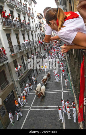 San Fermin festival, Pamplona, Spain July 2019 - Stock Photo