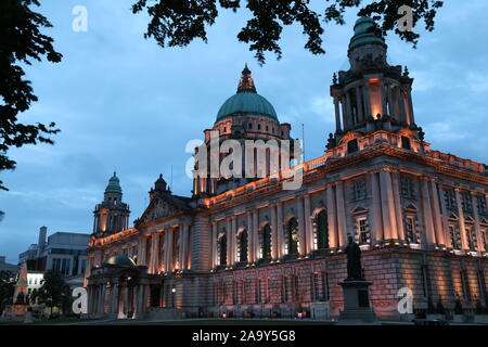 Twilight over Belfast City Hall Building, Belfast, Northern Ireland, UK - Stock Photo