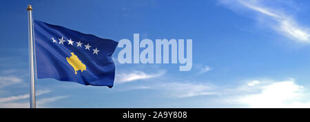 Flag of Kosovo rise waving to the wind with sky in the background - Stock Photo