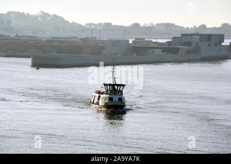 Venedig, Italy. 07th July, 2018. A ship is sailing along part of the MO.S.E. barrage project in the Porto di Lido area of Venice. Again and again Venice is under water and the sea level continues to rise. The completion of the expensive barrier system originally estimated at around five and a half billion to protect Venice from water flooding has been delayed time and again. Credit: Waltraud Grubitzsch/dpa-Zentralbild/ZB/dpa/Alamy Live News - Stock Photo