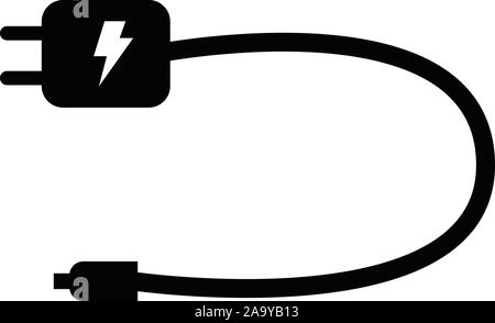 mobile charger icon on white background. flat style. mobile charger icon for your web site design, logo, app, UI. mobile charger electronic device sig - Stock Photo