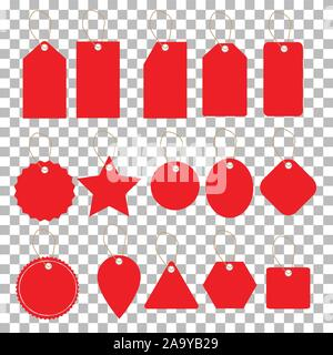 set of sale tags on tranparent background. flat style. blank shopping labels symbol. discount and price tags. - Stock Photo