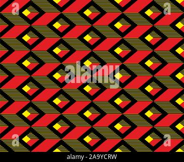 Geometric colorful shapes. Squares background. Seamless fabric print. - Vector - Stock Photo