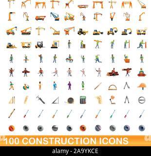 100 construction icons set. Cartoon illustration of 100 construction icons vector set isolated on white background - Stock Photo
