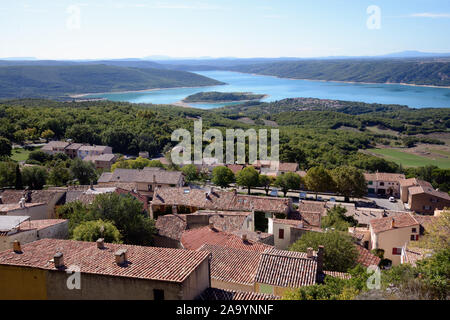 Panoramic View over the Rooftops of the Village of Aiguines & Lac de Sainte-Croix or Lake of Sainte-Croix Var Provence France - Stock Photo