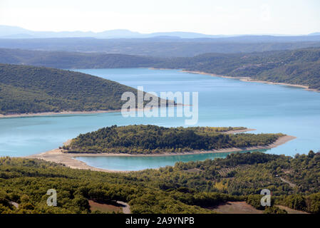 Aerial View, High Angle View or Panoramic View over Lac de Sainte-Croix or Lake of Sainte-Croix Var Provence France - Stock Photo