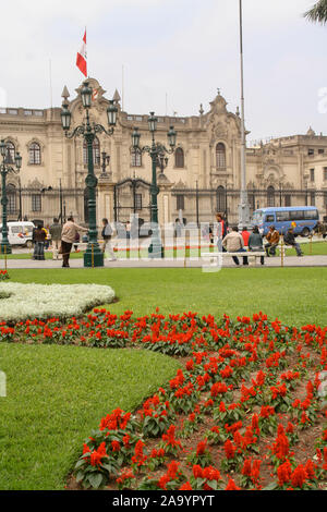 Lima, Peru, September.13. 2009: Government Palace , Residence of the President ,known as House of Pizarro in the Historic Centre of Lima, Unesco World - Stock Photo