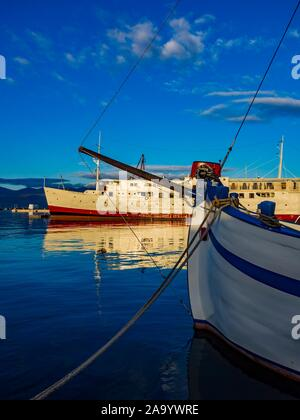 Harbor Rijeka in Croatia old vs and new ships vessel - Stock Photo