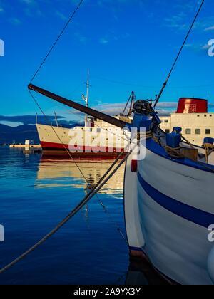 Harbor Rijeka in Croatia old vs and new ships vessel - Stock Photo