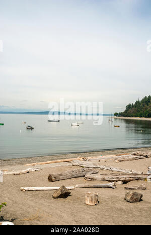 Driftwood on the sand on a beach and boats moored out in the water in West Seattle, Washington. - Stock Photo