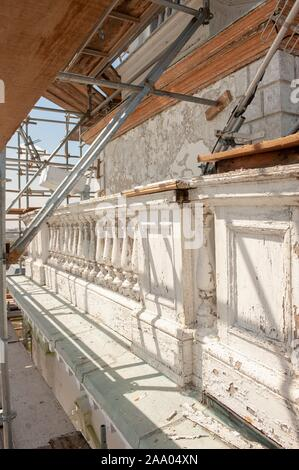 Architectural details are visible during the renovation of historic Gilman Hall, a Georgian style building on the Homewood Campus of the Johns Hopkins University in Baltimore, Maryland, April 21, 2009. From the Homewood Photography collection. () - Stock Photo