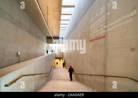 Interior of new James Simon Galerie building at Museum Island , Museumsinsel, in Mitte Berlin, Germany - Stock Photo
