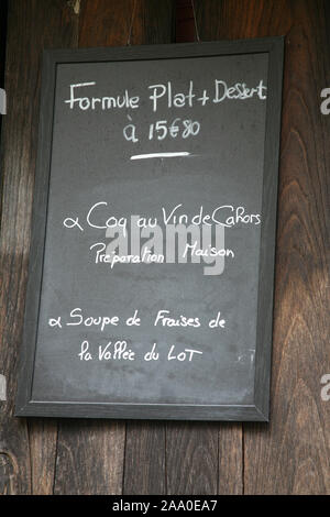 Menu of the Day Cahors France - Stock Photo