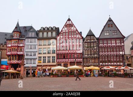 Old restored Romer square in Frankfurt am Main city, Germany - Stock Photo