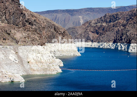 Shot up lake Mead showing the very low water levels and previous level - , Hoover Dam , Nevada, USA - Stock Photo