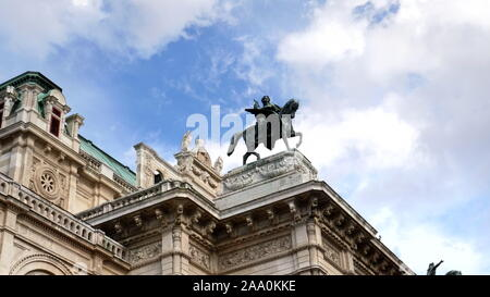 VIENNA, AUSTRIA-OCTOBER, 9, 2017: close up of the state opera house and statue of a man on a horse in vienna - Stock Photo