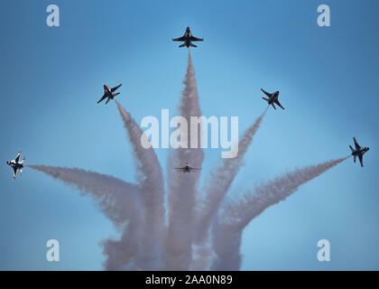 """The U.S. Air Force Air Demonstration Squadron """"Thunderbirds"""" perform at the Guardians of Freedom Air Show at Sheppard Air Force Base, Texas, Oct. 26, 2019. - Stock Photo"""