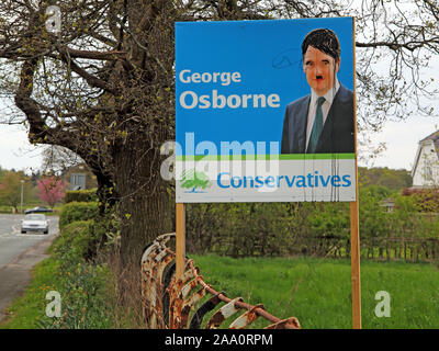 George Osborne defaced Conservative Election posters and publicity Knutsford Tatton Cheshire, North West England, UK - Stock Photo