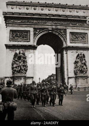 German Troops march past the Etoile in the Champs Elysees in Paris, France in June 1940, during the opening stages of the Second World War. - Stock Photo