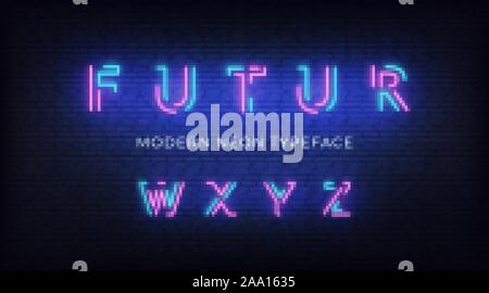 Neon light alphabet font. Glowing neon illuminated 3d modern typeface. Letters w, x, y, z - Stock Photo
