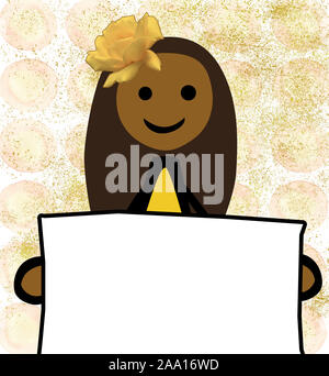 Blank banner_Simple Girl_African-American_Roses_Banner_dotted_background_Collage_by jziprian - Stock Photo
