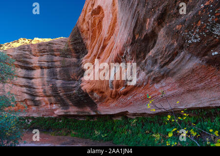 The amazing colors of a sandstone grotto around Lake Powell in Northern Arizona. - Stock Photo