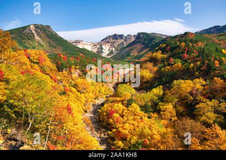 Autumn foliage, Tokachidake Onsen, Hokkaido Prefecture, Japan - Stock Photo