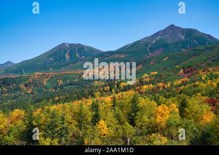 Mt. Tokachi, autumn foliage, Hokkaido Prefecture, Japan - Stock Photo