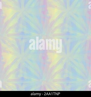 seamless vector tie die inspired pattern with iricescent gradient in pastel rainbow colors - Stock Photo