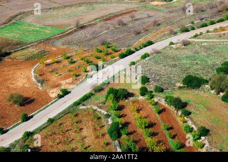 Aerial view of rural landscape in Peloponnese, Greece.