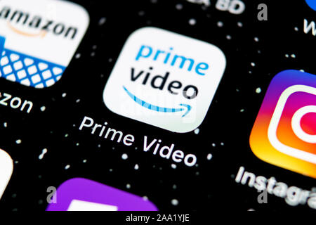 Sankt-Petersburg, Russia, February 3, 2019: Amazon Prime Video application icon on Apple iPhone X screen close-up. Amazon PrimeVideo app icon. Amazon - Stock Photo