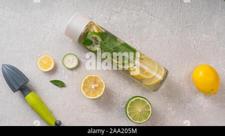 celery juice, alkaline water, liver, green tea, solar water disinfection, bottle - Stock Photo