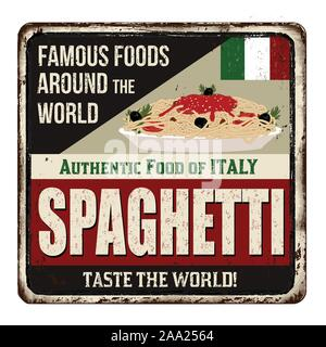 Famous foods around the world. Spaghetti vintage rusty metal sign on a white background, vector illustration - Stock Photo