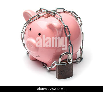 Pink piggy bank wrapped in a chain and locked with a padlock isolated on a white background. Ban on the use of savings