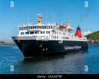 Caledonian Macbrayne Ferry MV Isle of Lewis roll on roll off car ferry at Oban Ferry Terminal, Argyll and Bute, Scotland, UK - Stock Photo