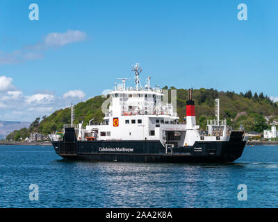 Caledonian Macbrayne Ferry MV Coruisk roll on roll off car and passenger ferry in Oban Harbour, Argyll and Bute, Scotland, UK. - Stock Photo