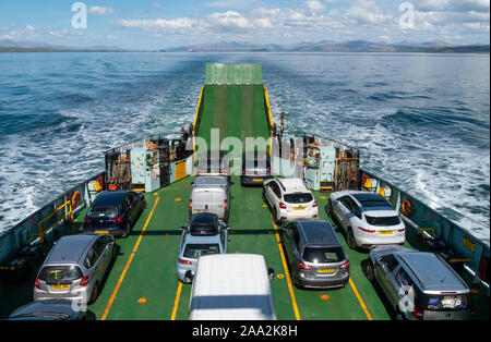 View above car deck over stern of the Caledonian Macbrayne Ferry MV Hebridean Isles during crossing from Oban to the Isle of Colonsay, Scotland, UK - Stock Photo