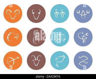 colorful round zodiac sign horoscope set vector illustration EPS10 - Stock Photo