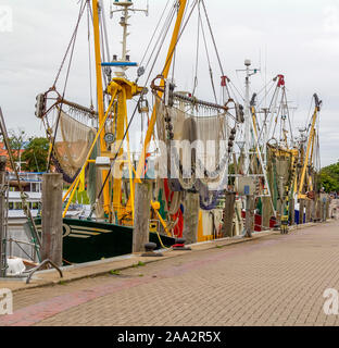 shrimp cutters seen in Greetsiel, a idyllic village located in East Frisia, Northern Germany - Stock Photo