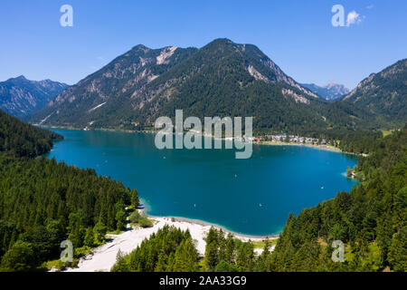Plansee looking west to Soldatenkoepfle and Hochjoch in Background, Tyrol, Austria - Stock Photo